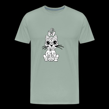 sweet cat with big eyes , gift idea - Men's Premium T-Shirt