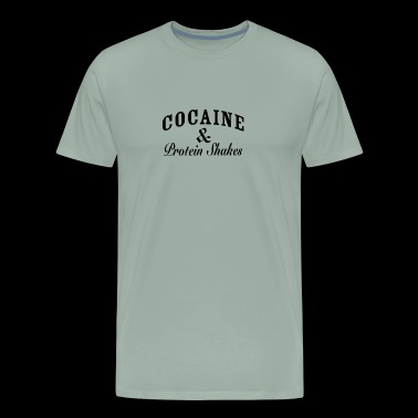 Cocaine and Protein Shakes Caviar Funny Logo - Men's Premium T-Shirt