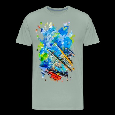 Artist Palette And Brushes - Men's Premium T-Shirt