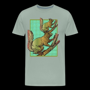 Squirrels on a tree - Men's Premium T-Shirt
