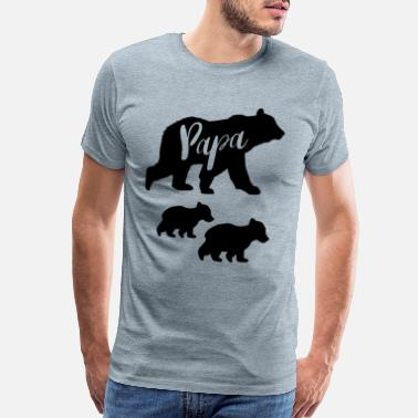 Cub Papa Bear T Shirt with Two Cubs - Men's Premium T-Shirt