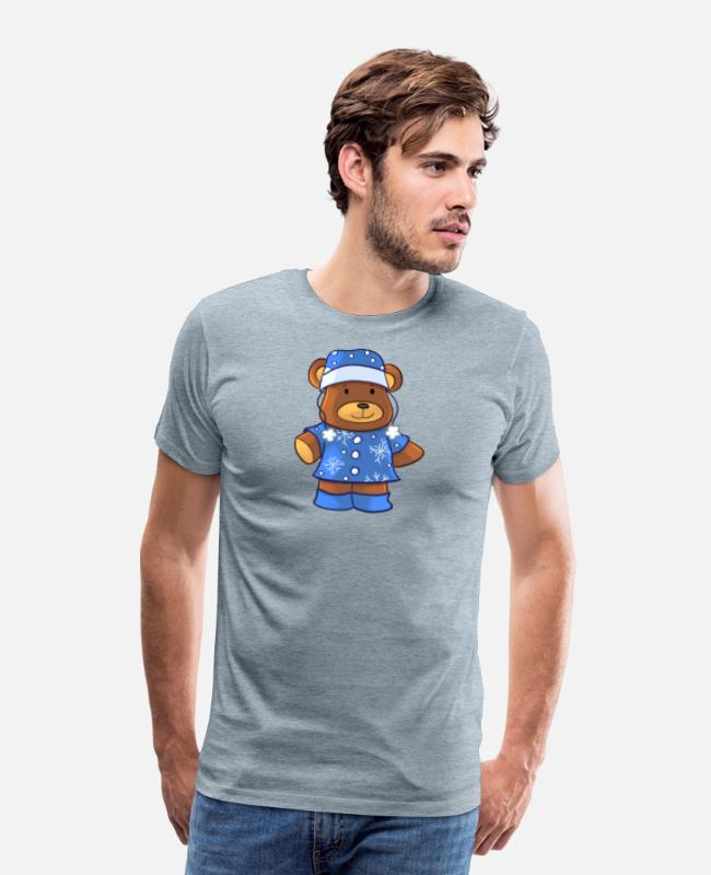 Grande T-Shirts - Bearin Winter Hat - Men's Premium T-Shirt heather ice blue
