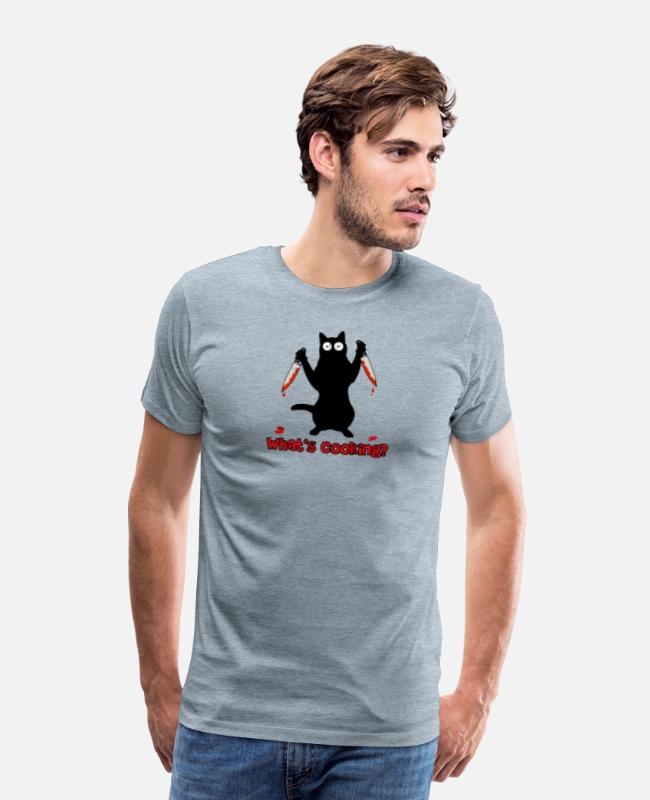 Restaurant T-Shirts - Cook cat with kitchen knife - Men's Premium T-Shirt heather ice blue