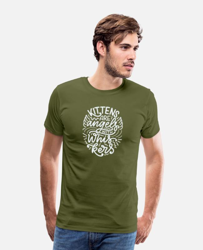Quote T-Shirts - Kitten Are Angels | Kit Lover | G Fashion - Men's Premium T-Shirt olive green