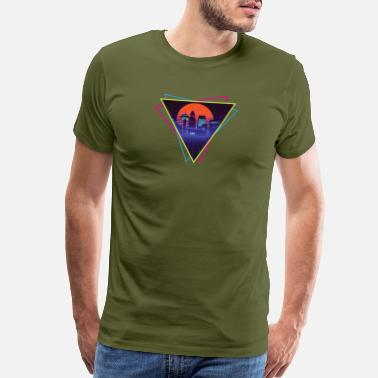 Sun future city synthwave - Men's Premium T-Shirt