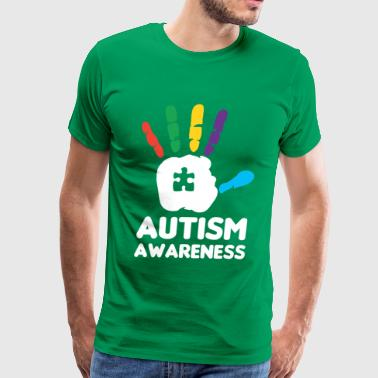 Autism Hand Autism Awareness Hand Print Colorful Puzzle - Men's Premium T-Shirt