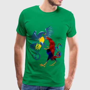 Two Colorful Fighting Roosters  - Men's Premium T-Shirt