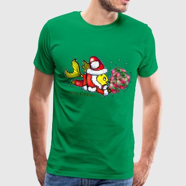 Happy Christmas Santa Clause Fish - funny cute Christmas cartoon, By FabSpark - Men's Premium T-Shirt