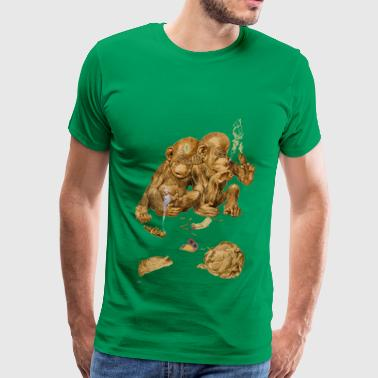 mokey smoking lettuce - Men's Premium T-Shirt