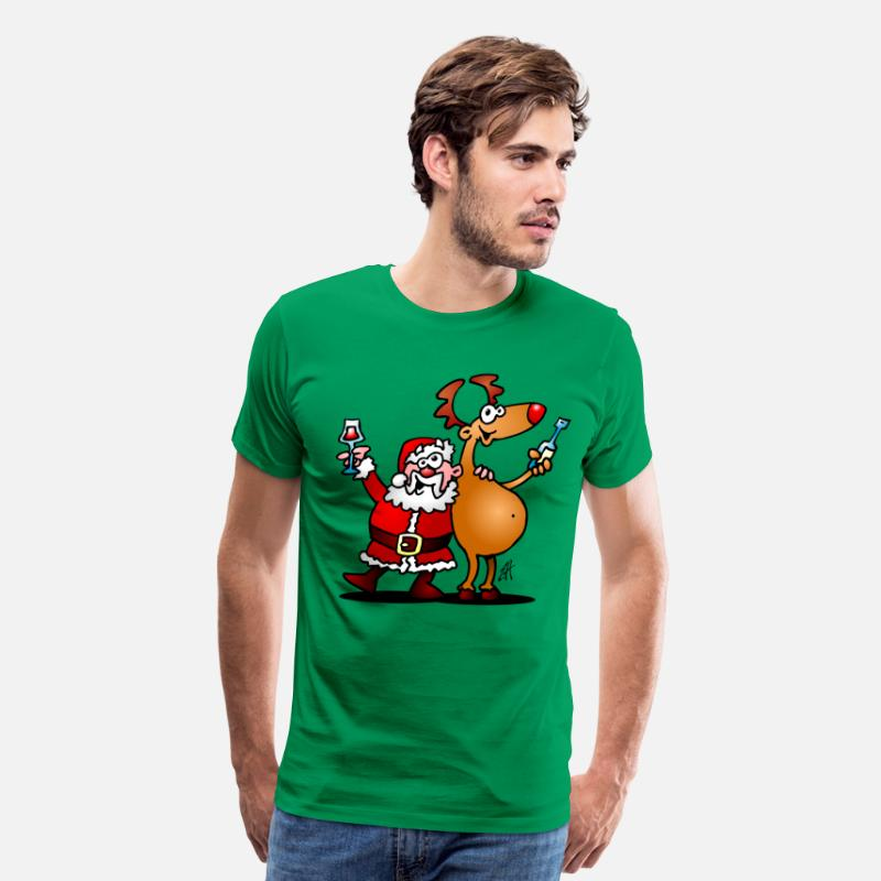 Claus T-Shirts - Santa Claus and his Reindeer - Men's Premium T-Shirt kelly green