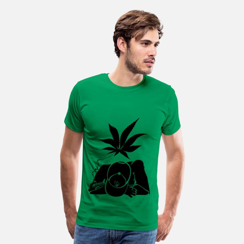 Ganja T-Shirts - ganja man - Men's Premium T-Shirt kelly green