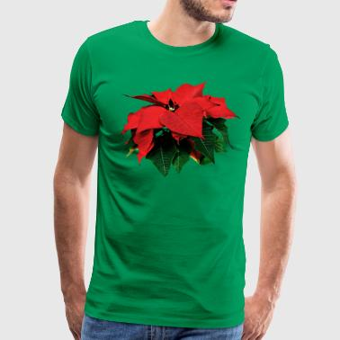 Poinsettia and Leaves - Men's Premium T-Shirt