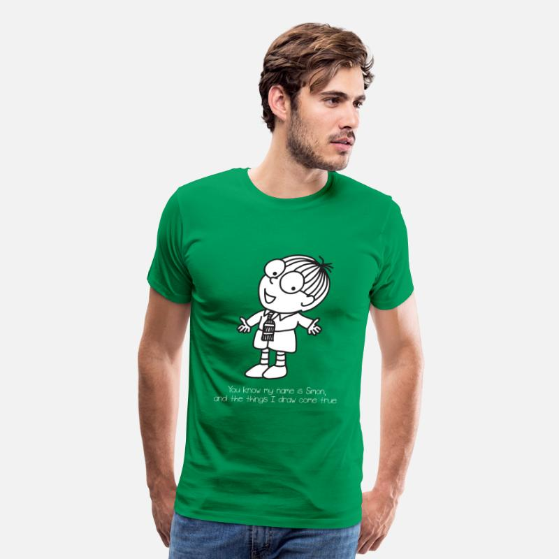 Simón T-Shirts - Simon in The Land of Chalk Drawings - Men's Premium T-Shirt kelly green