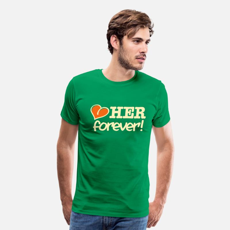 Couples T-Shirts - love her forever! - Men's Premium T-Shirt kelly green