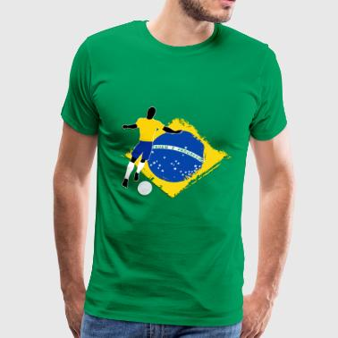 Footballer footballer and brazilian flag - Men's Premium T-Shirt