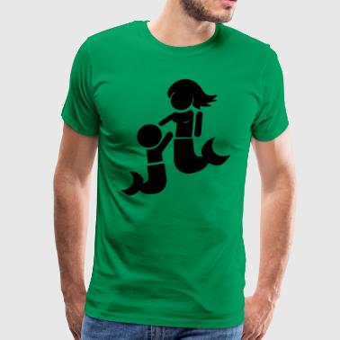 Tits Hug Mermaid child and mother - Men's Premium T-Shirt
