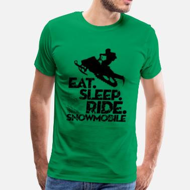 Sleeping Motor Snowmobiling Eat Sleep - Men's Premium T-Shirt