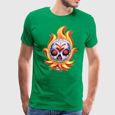 DoD Flame Skull by RollinLow - Men's Premium T-Shirt