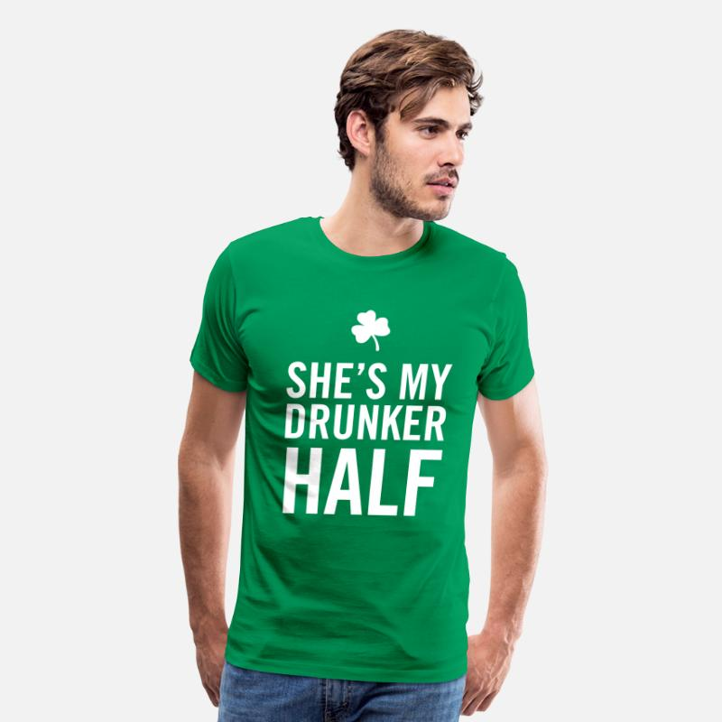 Half T-Shirts - She's my drunker half - Men's Premium T-Shirt kelly green