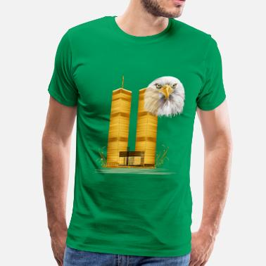 Center Gold Twin Towers and Eagle - Men's Premium T-Shirt