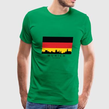Munich Germany Skyline German Flag - Men's Premium T-Shirt