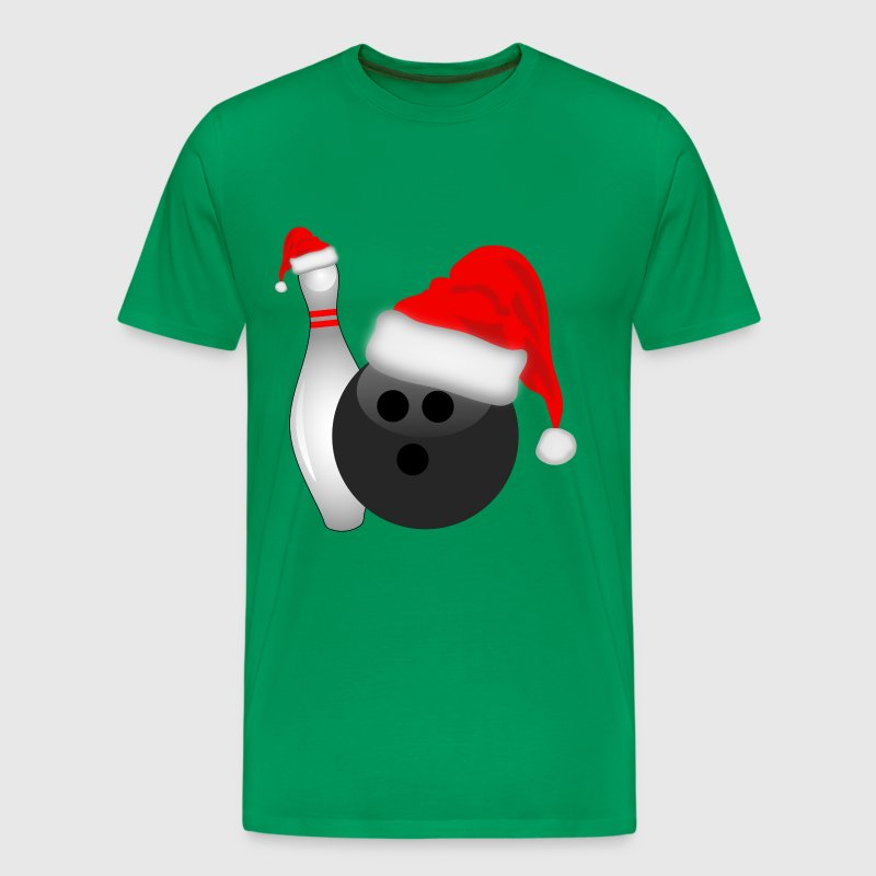 Christmas Bowling Ball and Pin - Men's Premium T-Shirt