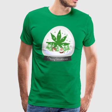 Merry Christmas Marijuana Snow Globe - Men's Premium T-Shirt
