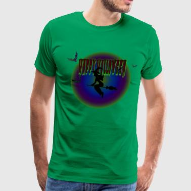 Fortune Telling Superstitious Witch Rides on Broomstick - Men's Premium T-Shirt