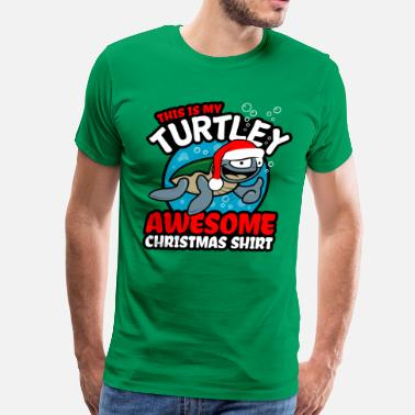 Christmas Turtle - Turtley Awesome Christmas - Men's Premium T-Shirt