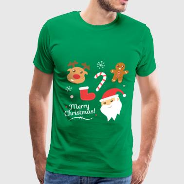 Cute Christmas with Santa and Reindeer - Men's Premium T-Shirt