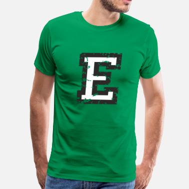Letter E Letter E (Distressed) Black/White - Men's Premium T-Shirt