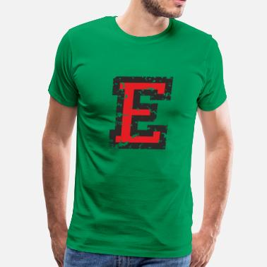 Letter E Letter E (Distressed) Black/Red - Men's Premium T-Shirt