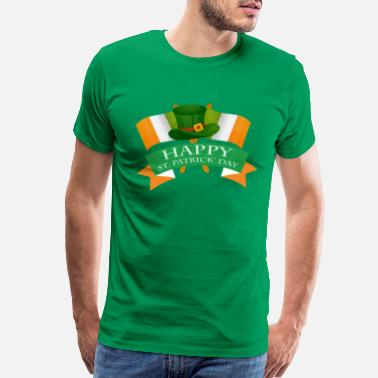San St patricks Day T-Shirt leprechaun hat irish flag - Men's Premium T-Shirt