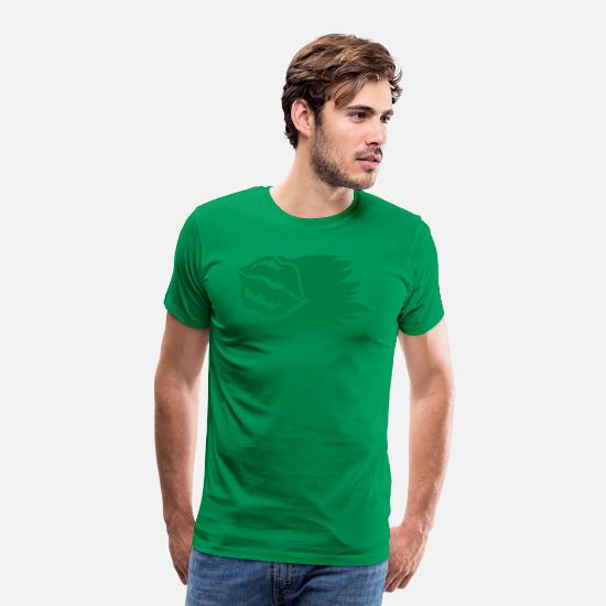 Color T-Shirts - pouty lips one color with blaze flame - Men's Premium T-Shirt kelly green