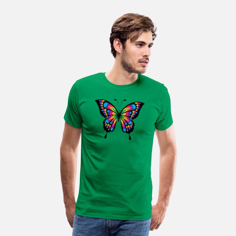 Rainbow Flag T-Shirts - Rainbow Butterfly - Men's Premium T-Shirt kelly green