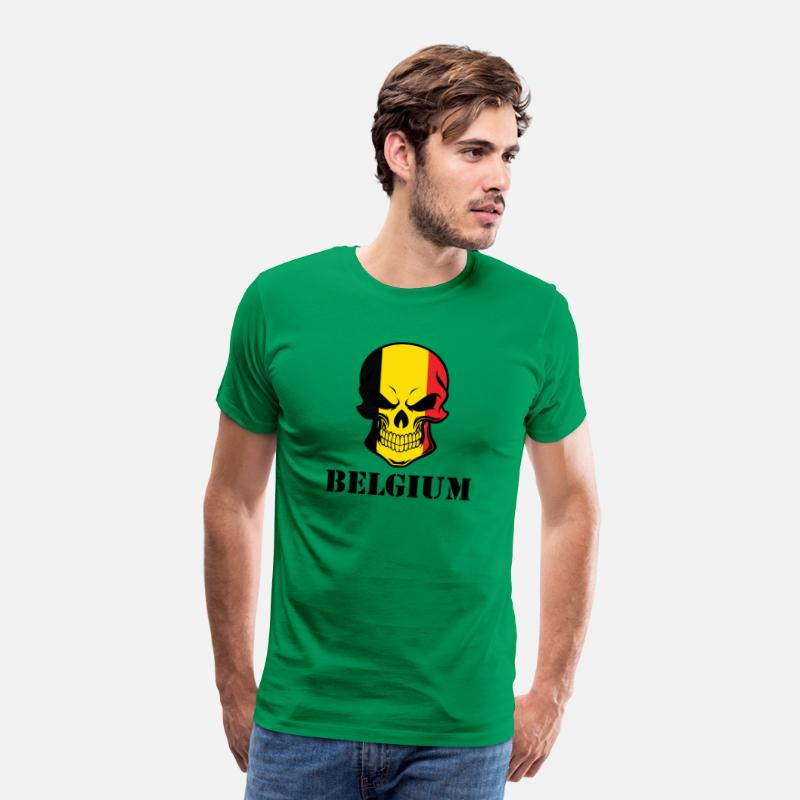 Country T-Shirts - Belgian Flag Skull Belgium - Men's Premium T-Shirt kelly green