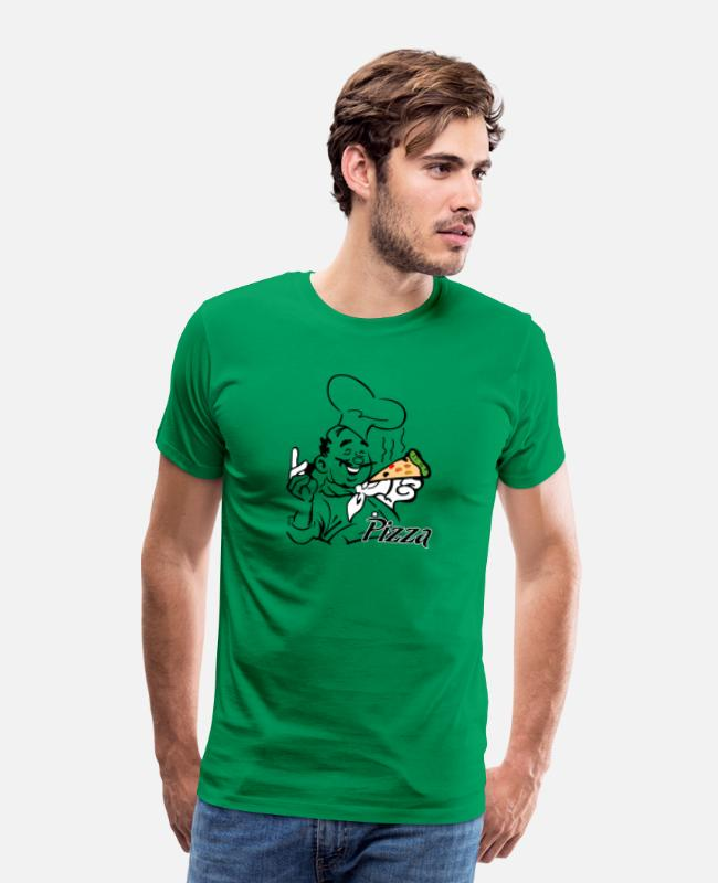 Pizza T-Shirts - Pizza And Chef - Men's Premium T-Shirt kelly green