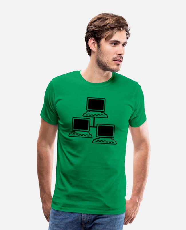 Office T-Shirts - network - Men's Premium T-Shirt kelly green