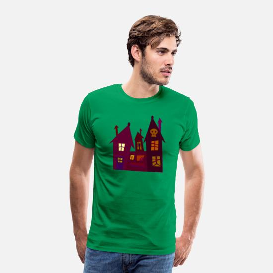 Shelter T-Shirts - Spooky house - Men's Premium T-Shirt kelly green