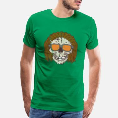 Reggae Rasta Rasta Skull with Sunglasses | Reggae - Men's Premium T-Shirt