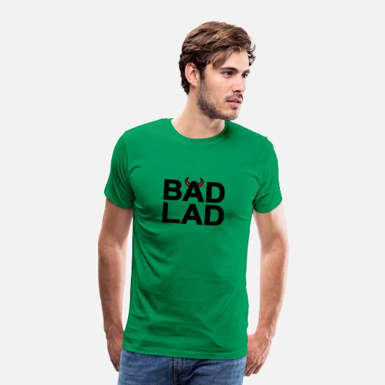 Devil Horns T-Shirts - Bad Lad (black text) - Men's Premium T-Shirt kelly green