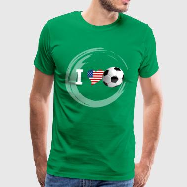 i Love Soccer ball sport usa flag america goal LOL - Men's Premium T-Shirt