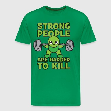 Strong People Are Harder To Kill- Kawaii Squat - Men's Premium T-Shirt