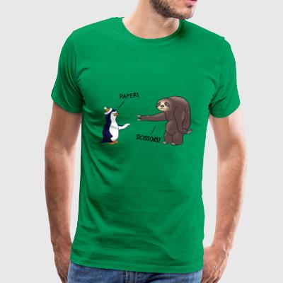 Sloth and Penguin playing - Men's Premium T-Shirt