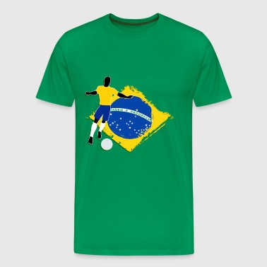 footballer and brazilian flag - Men's Premium T-Shirt