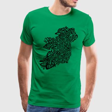 Ireland Typography Map - Men's Premium T-Shirt