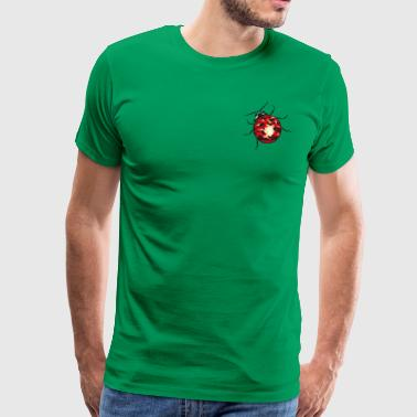 Lucky charm. Little ladybug made of gemstone. - Men's Premium T-Shirt