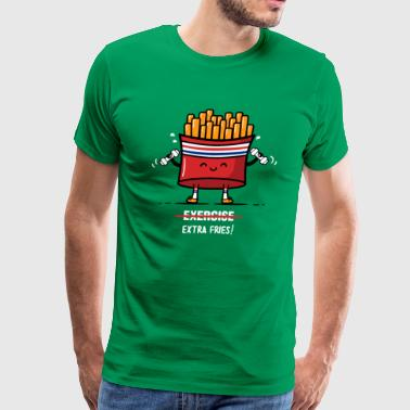 Exercise Extra Fries Funny T shirt - Men's Premium T-Shirt