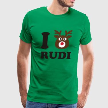 I Love Rudi Red Nose Reindeer Funny Animal - Men's Premium T-Shirt