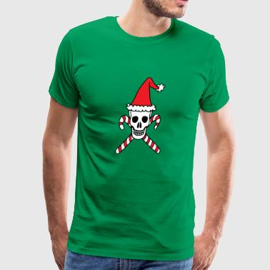 Santa Skull And Candy Cane Crossbones - Men's Premium T-Shirt